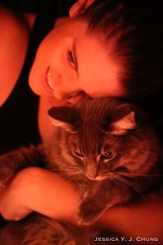 Model Marcel, the cat and Elizabeth